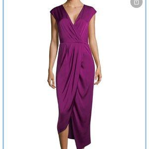 DONNA KARAN Silk Cocktail Dress Magenta